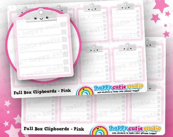 8 Cute Full Box Clipboards/Functional/Practical Planner Stickers, Filofax, Erin Condren, Happy Planner,  Kawaii, Cute Sticker, UK