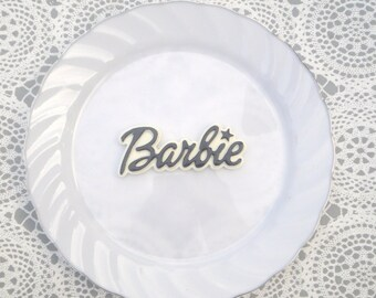 Barbie black & white word resin cabochon diy flatback