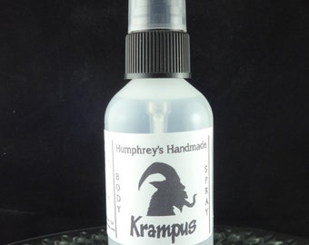 KRAMPUS Body Spray, Peppermint Scented All Natural Perfume Room and Linen Spray 2 oz, Witch Hazel Fragrance Mint Scent, Unisex Men and Women