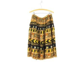 Hippie Skirt Gold & Black Print Skirt Boho Tribal Rayon Bali Skirt Summer skirt Womens size 16 + Plus Fall Skirt