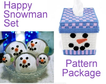 Reserved for Jane: Happy Snowman Set in Plastic Canvas