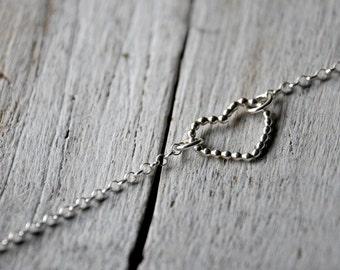 Heart Bracelet Sterling Silver, beaded heart shape charm and handmade clasp.