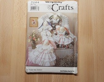 Simplicity Crafts 7044 Stuffed Decorative Angel Bunnies and Clothes by Faith Van Zanten presented by Donellensvintage