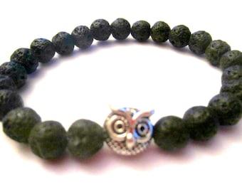 Owl Bracelet. Lava Bracelet. Beaded Bracelet. Owl Jewelry. Stretch Bracelet. Black Lava Bracelet. Black Bracelet. Strength Bracelet.