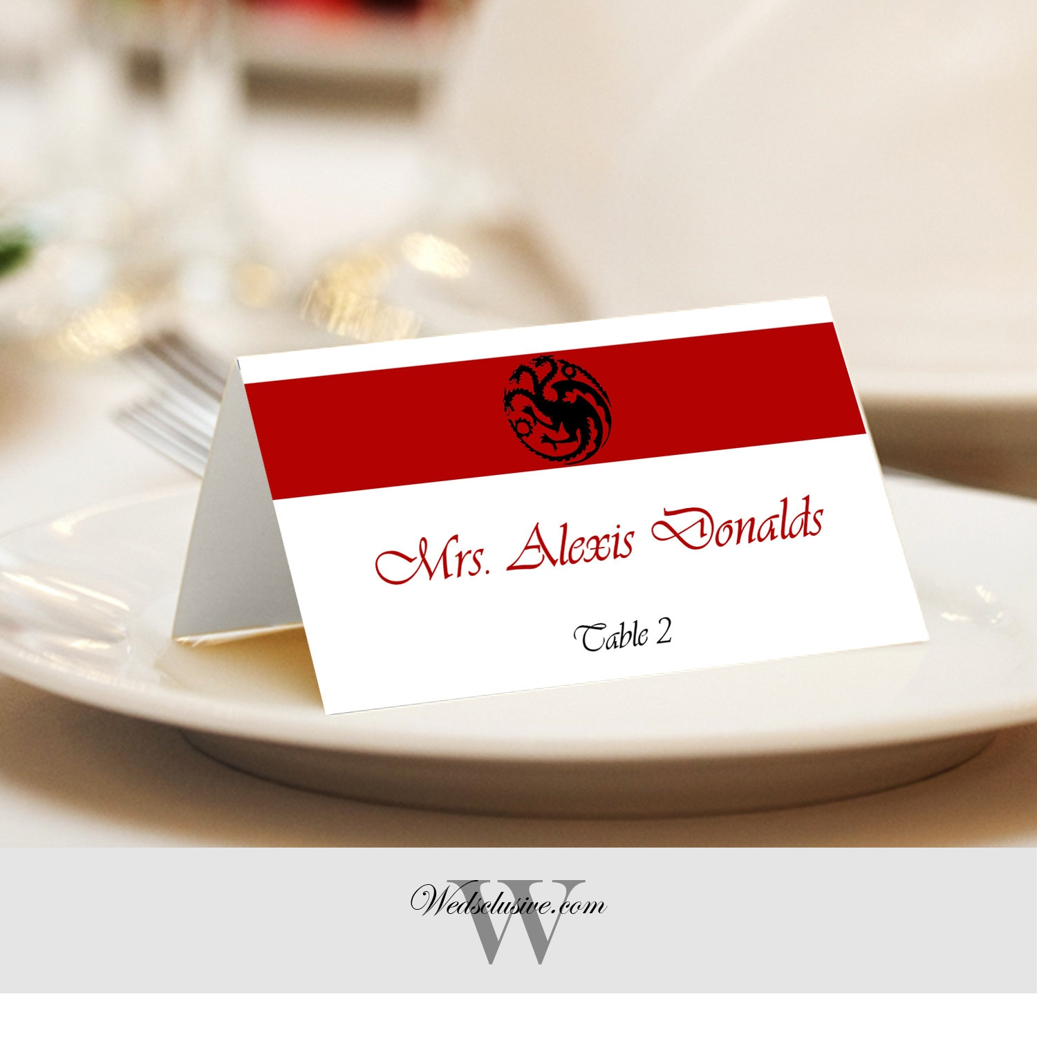 Game of Thrones Place Cards Targaryen Name Cards Dragons