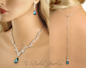 Backdrop Lariat Bridal CZ Cubic Zirconia and Blue Crystal Wedding Necklace and Earring Set - Available in several colors - EVELYN