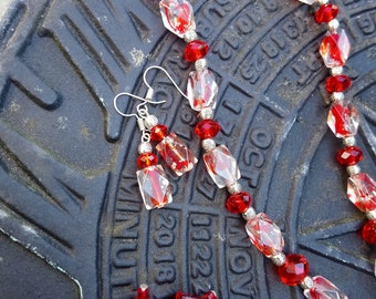 Red faceted Glass Necklace with choice of Earrings