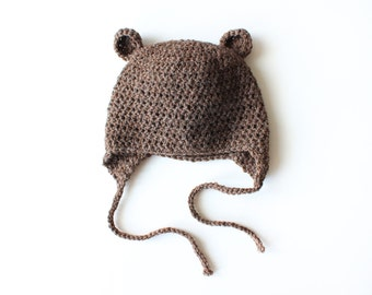 Organic Wool Bear Hat, Infant Hat, Crochet Hat, Organic Baby Hat, Newborn Hat, Baby Bear Hat