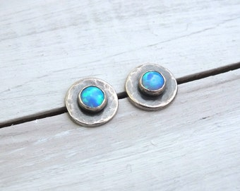 Sterling Silver Opal Stud Earrings, Oxidised Silver Stud Earrings, 4mm Gemstone Sterling Silver Studs, Birthstone Jewellery