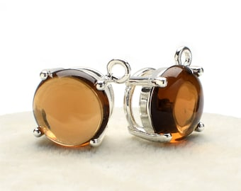 2 Round Smooth Smoky Quartz Crystal Glass Pendant, 12mm, Silver Plated over Brass Prong Setting. [R1190398]