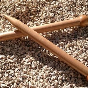Handmade wooden single point knitting needles from beechwood, length 35 cm