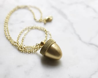 Vintage Brass Acorn Canister Necklace | Secret Stash