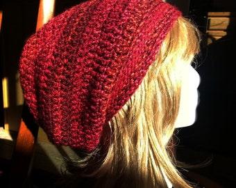 Red crochet slouchy beanie