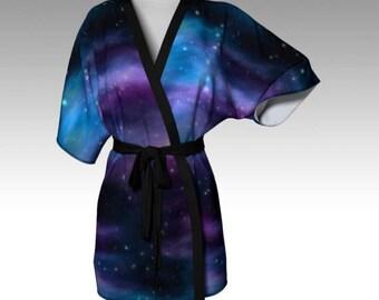 Galaxy Robe, Space Robe, Galaxy Kimono, Kimono Robe, Dressing Gown, Beach Coverup, Bridesmaid Robe, Loungewear, Swimsuit Coverup, Women Gift