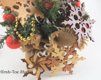 Wooden Snowflake, Ornament, Star Garland, Snowflakes Decorations,Christmas, Yule, Hanukkah, Grahtoe,christmas tree decorations,gifts for all