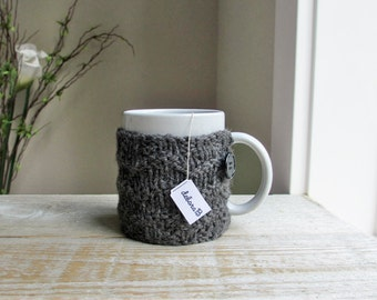 Coffee Cozy, Wool Coffee Sleeve, Knitted Cup Cozy, Reusable Coffee Mug Sleeve, Gift Under 25, Charcoal, Fathers Day Gift, Gift for Men Dad