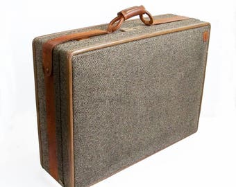 "Mid Century Hartmann Leather & Tweed Suitcase ""High Quality, USA Made Luggage"""