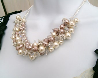 Mink Pearl and Rhinestone Beaded Necklace, Bridal Jewelry, Taupe, Cluster Necklace, Chunky Necklace, Bridesmaid Gift,  Pearl and Crystals