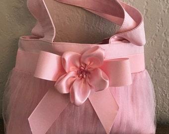 Little Girl  ballet style handbag / tule tutu / flower and pink beads / pink ribbon / stylish