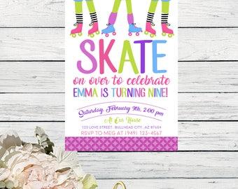 Roller Rink Skating Birthday Invite ***Digital File*** (skate-2018)