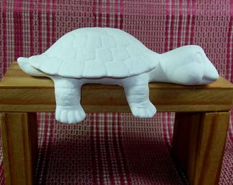 Unpainted Ceramic Turtle Figurine / Ceramic Bisque / Turtle Statue / Ceramics to Paint / Handmade Ceramic Turtle Decor / Paintable Ceramics