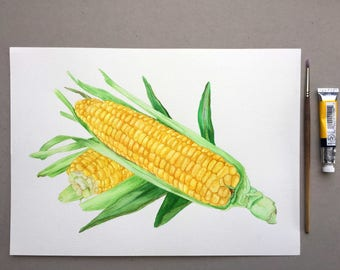 Corn Original Food Illustration Watercolour Illustration