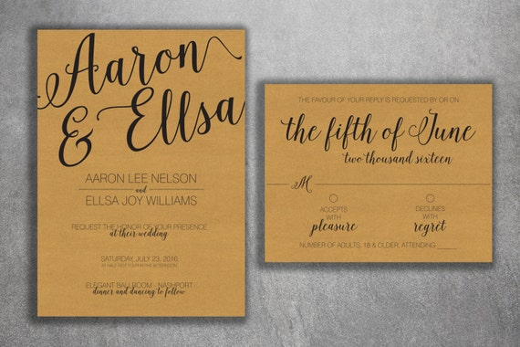 Cheap Rustic Wedding Invitations: Country Wedding Invitations Kit Printed With RSVP Cheap