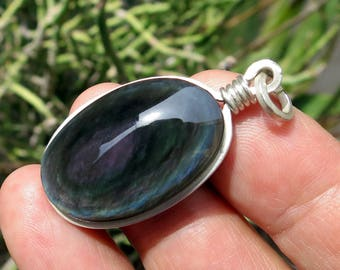 obsidian necklace sterling silver