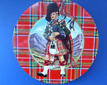 Iconic 1960s Vintage SCOTTISH SHORTBREAD Tin with Tartan background with Central Piper Motif