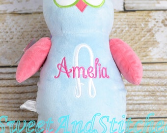 Personalized Stuffed Animal baby gift owl, Monogrammed stuffed animal, monogrammed baby gift, baby girl owl nursery decoration