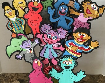 """Sesame Street characters your choice of FOUR- 8""""inches height for your birthday decoration, centerpieces or favor bags additio"""