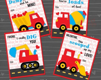 Construction Truck Valentine Cards for Kids *Boy's Valentines* DIY Valentine Printable *I dig You*  personalization extra