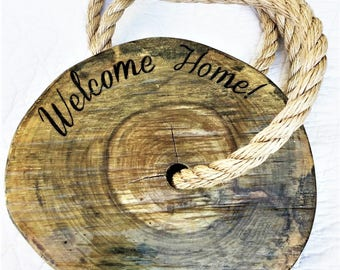 Welcome Home Wood Slice Tree Swing   Engraved Tree Swing   Rope Tree Swing   Christmas Gift for New Homeowner Christmas Gift for New Parents