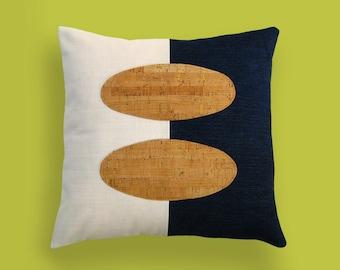 Indigo Denim and Cork Modern Decorative Pillow 12 x 12 inches