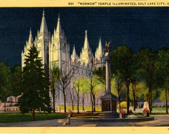 Morman Temple Illuminated at Night Salt Lake City Utah Vintage Postcard (unused)