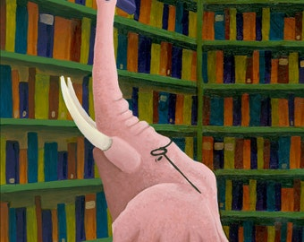 Elephant Librarian - Print 5x7 or 8x10