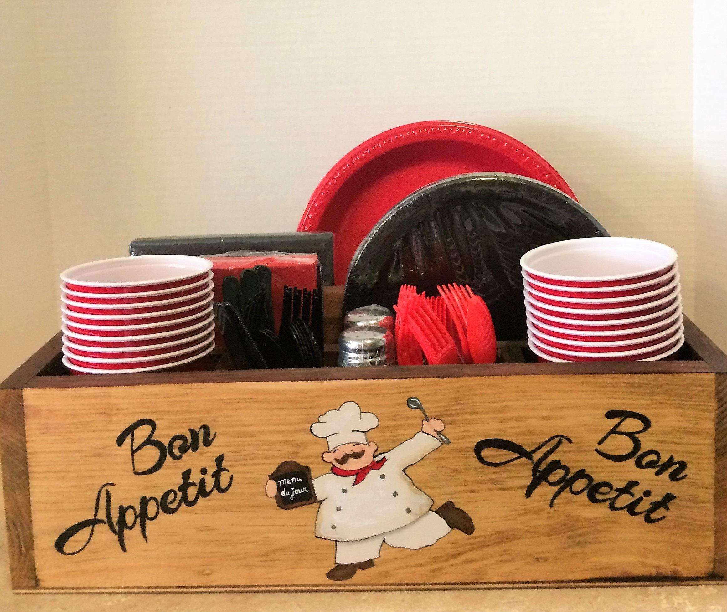 Tableware Holder, Chef Decor, Chef Kitchen Decor, Chef Kitchen, Chef Theme,  Paper Plate Holder, Napkin Holder, Kitchen Tableware Caddy