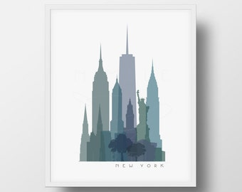 New York Skyline Printable Download  -  New York City Skyline  -  New York Wall Art  -  PDF, PNG