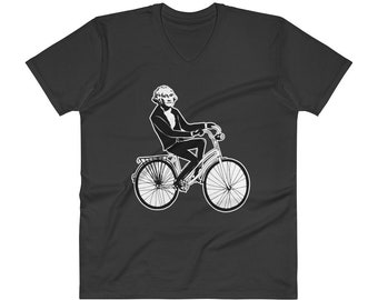 George Washington Shirt | George Washington on a Bicycle V-Neck T-Shirt
