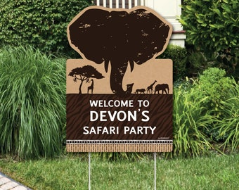 Wild Safari Welcome Sign - Birthday or Baby Shower Personalized Welcome Yard Sign - African Jungle Adventure - Outdoor Lawn Decoration