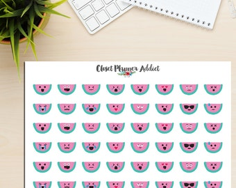 Watermelon Emojis Planner Stickers | Cute Watermelons | Emoji Stickers | Emotion Stickers | Mood Trackers (S-170)