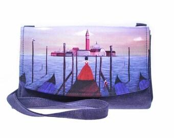 Purple crossbody bag, Venice shoulder bag, Italy gift, designer handbag, colorful shoulder purse, canvas shoulder purse, everyday bag purse