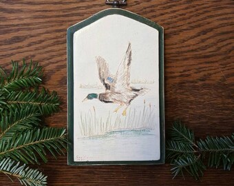 Vintage Duck Wall Decor/Waterfowl/Lake/Wooden/Cabin/ducks/mallard/Country/Painted/Artwork/wall/Dark Green/White/Mallard/hunting/nature/fish