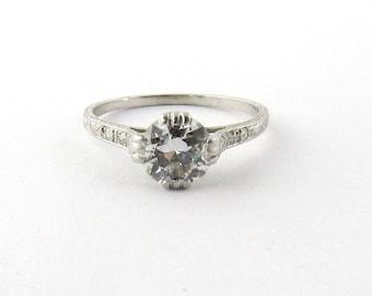 Antique Art Deco Platinum Diamond Engagement Ring #340