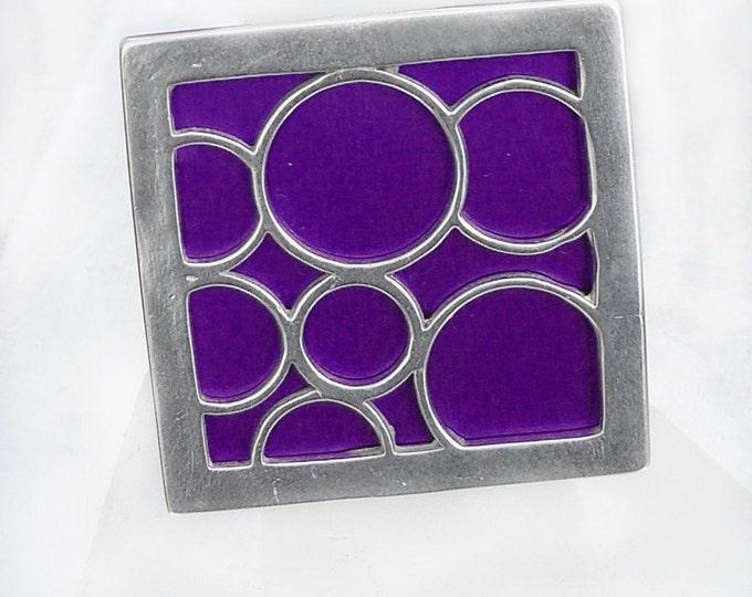 Super Size square bubble ring in purple