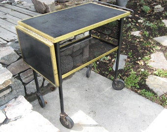 """INDUSTRIAL BAR CART Vintage Label From Englewood Colorado """"Molitor"""" Copper Iron Steel Black Lacquer Lift Side table top Rolling Wheels  mcm"""
