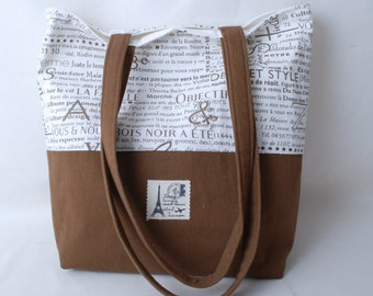 French Graphic Fabric and Brown Canvas Fabric Purse or Tote Bag