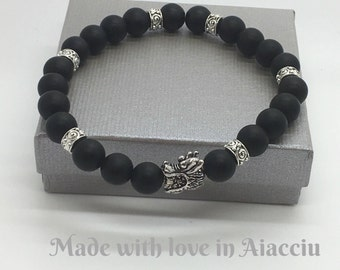 Mens bracelet black tourmaline beads Matt