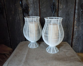 106 - Candle Holders -Set of 2 -Metal -Heirloom White -Distressed