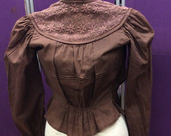 Victorian blouse in a rich chocolate cotton